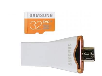 Genuine Samsung Ultra-fast Performance OTG type USB with 32GB MicroSD Card - White