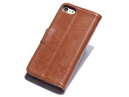 Premium Leather Wallet Case for iPhone 8/7 - Caramel Leather Wallet Case