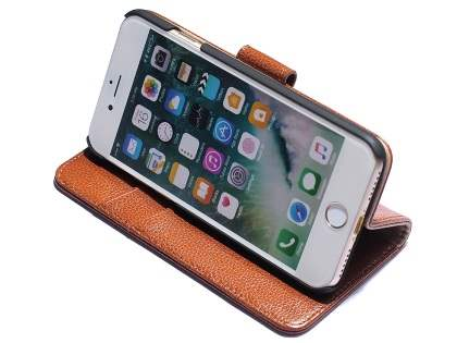 Premium Leather Wallet Case for iPhone 8/7 - Brown