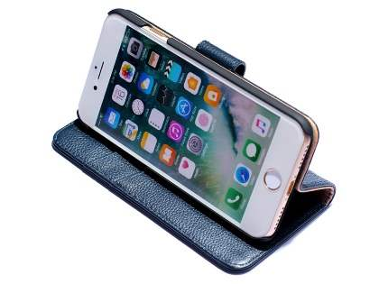 Premium Leather Wallet Case for iPhone 7 4.7 inches - Midnight Blue