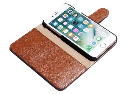 Premium Leather Wallet Case for iPhone 8 Plus/7 Plus - Brown