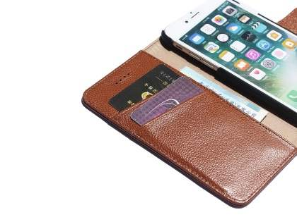 Premium Leather Wallet Case for iPhone 7 Plus - Brown