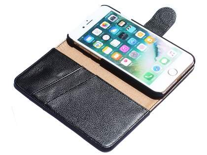 Premium Leather Wallet Case for iPhone 8 Plus/7 Plus - Black