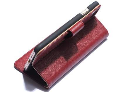 Premium Leather Wallet Case for iPhone 7 Plus - Rosewood