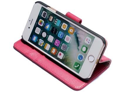 Premium Leather Wallet Case for iPhone 7 Plus - Pink