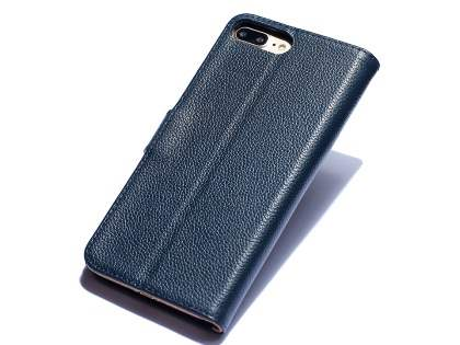 Premium Leather Wallet Case for iPhone 8 Plus/7 Plus - Midnight Blue Leather Wallet Case