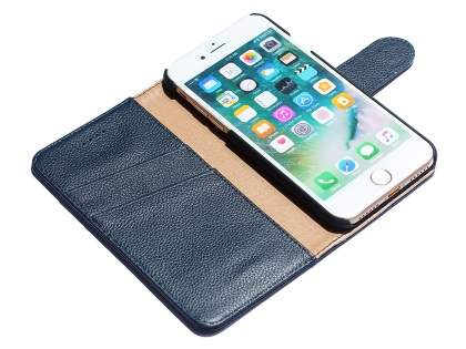 Premium Leather Wallet Case for iPhone 7 Plus - Midnight Blue