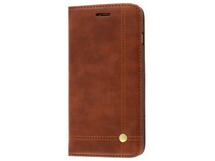 Slim Synthetic Leather Portfolio Case with Stand for iPhone 8 Plus/7 Plus - Chestnut Leather Wallet Case