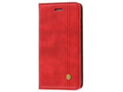 Slim Synthetic Leather Portfolio Case with Stand for iPhone 8/7 - Red Leather Wallet Case