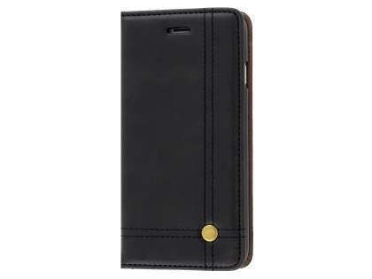 Slim Synthetic Leather Portfolio Case with Stand for iPhone 8/7 - Black Leather Wallet Case