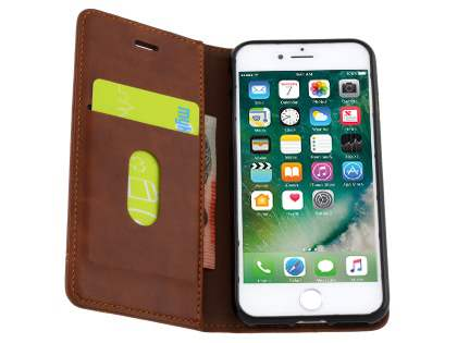 Slim Synthetic Leather Portfolio Case with Stand for iPhone 8/7 - Chestnut