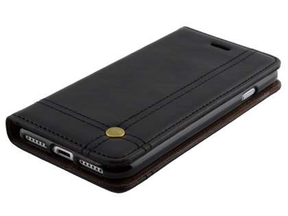 Slim Synthetic Leather Portfolio Case with Stand for iPhone 8/7 - Black