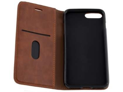 Slim Synthetic Leather Portfolio Case with Stand for iPhone 8 Plus/7 Plus - Chestnut