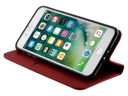 Slim Synthetic Leather Portfolio Case with Stand for iPhone 8 Plus/7 Plus - Red