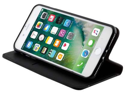 Slim Synthetic Leather Portfolio Case with Stand for iPhone 8 Plus/7 Plus - Black