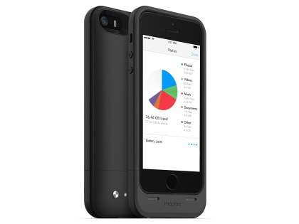 mophie space pack Battery Case with 16GB Storage for iPhone SE/5s/5 - Classic Black Case Battery