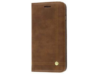Slim Synthetic Leather Portfolio Case with Stand for iPhone 8 Plus/7 Plus - Chocolate Leather Wallet Case
