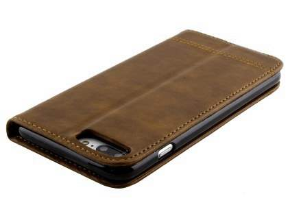 Slim Synthetic Leather Portfolio Case with Stand for iPhone 8 Plus/7 Plus - Chocolate