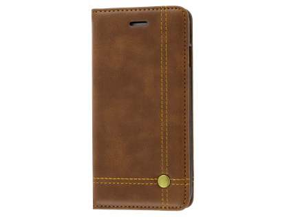 Slim Synthetic Leather Portfolio Case with Stand for iPhone 8/7 - Chocolate Leather Wallet Case