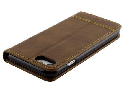 iPhone 7 4.7 inches Slim Synthetic Leather Portfolio Case with Stand - Brown