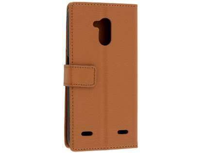 Slim Synthetic Leather Wallet Case with Stand for ZTE Blitz - Brown Leather Wallet Case