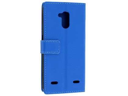 Slim Synthetic Leather Wallet Case with Stand for ZTE Blitz - Blue Leather Wallet Case