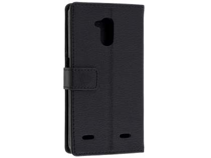 Slim Synthetic Leather Wallet Case with Stand for ZTE Blitz - Classic Black Leather Wallet Case