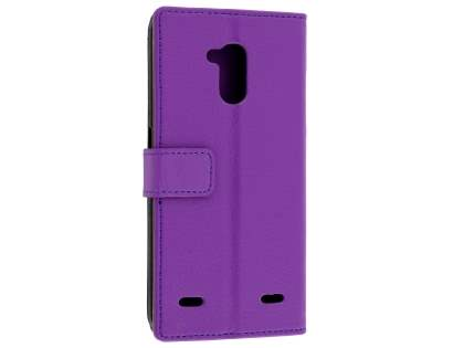 Slim Synthetic Leather Wallet Case with Stand for ZTE Blitz - Purple Leather Wallet Case