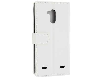Slim Synthetic Leather Wallet Case with Stand for ZTE Blitz - White Leather Wallet Case