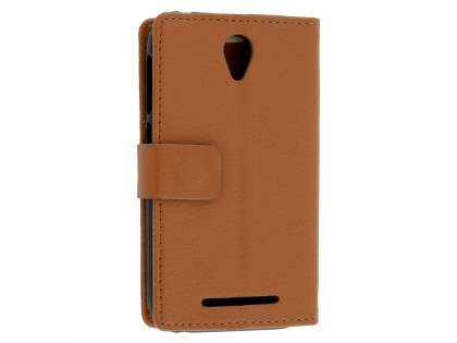 Slim Synthetic Leather Wallet Case with Stand for Telstra 4GX Smart - Brown Leather Wallet Case