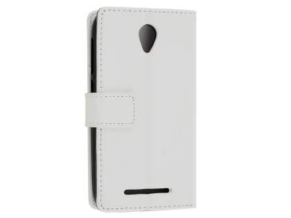 Slim Synthetic Leather Wallet Case with Stand for Telstra 4GX Smart - Pearl White Leather Wallet Case