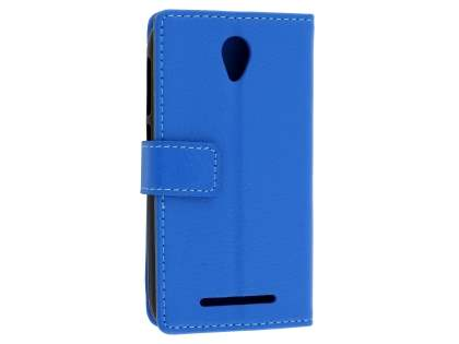 Slim Synthetic Leather Wallet Case with Stand for Telstra 4GX Smart - Blue Leather Wallet Case