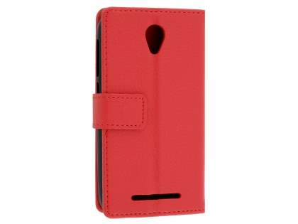 Slim Synthetic Leather Wallet Case with Stand for Telstra 4GX Smart - Red Leather Wallet Case