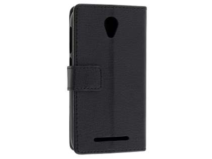 Slim Synthetic Leather Wallet Case with Stand for Telstra 4GX Smart - Classic Black Leather Wallet Case