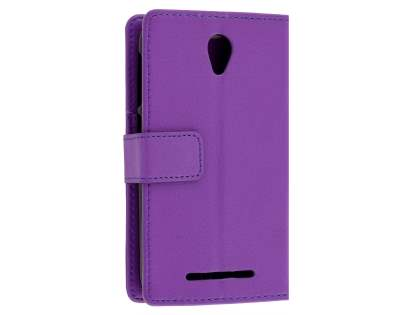 Slim Synthetic Leather Wallet Case with Stand for Telstra 4GX Smart - Purple Leather Wallet Case