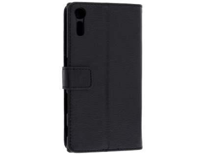 Slim Synthetic Leather Wallet Case with Stand for Sony Xperia XZ - Classic Black Leather Wallet Case