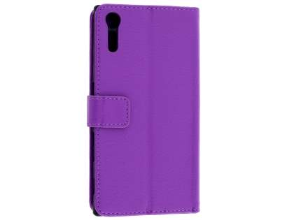 Slim Synthetic Leather Wallet Case with Stand for Sony Xperia XZ - Purple Leather Wallet Case