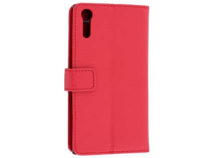 Slim Synthetic Leather Wallet Case with Stand for Sony Xperia XZ - Red Leather Wallet Case