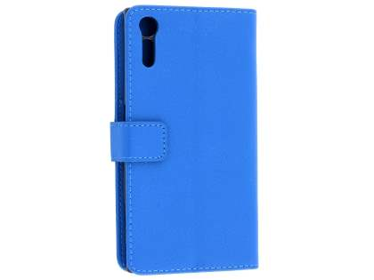 Slim Synthetic Leather Wallet Case with Stand for Sony Xperia XZ - Blue Leather Wallet Case