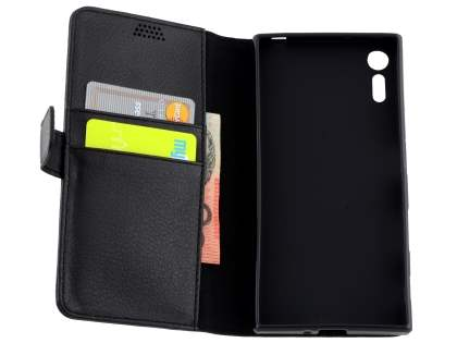 Slim Synthetic Leather Wallet Case with Stand for Sony Xperia XZ - Classic Black