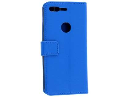 Slim Synthetic Leather Wallet Case with Stand for Google Pixel - Blue Leather Wallet Case