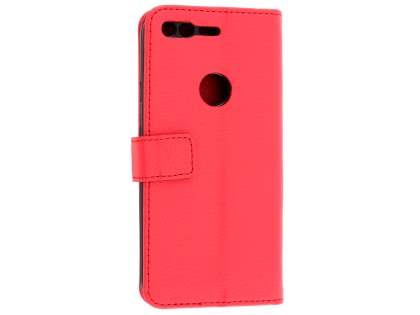 Slim Synthetic Leather Wallet Case with Stand for Google Pixel - Red Leather Wallet Case