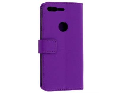 Slim Synthetic Leather Wallet Case with Stand for Google Pixel XL - Purple Leather Wallet Case