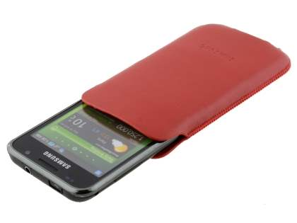 Genuine Leather Slide-in Case for Samsung Galaxy Ace 3 - Red
