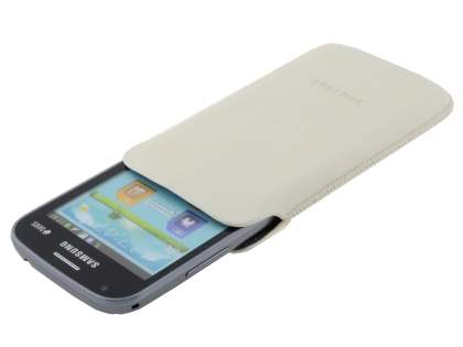 Genuine Leather Slide-in Case for Samsung Galaxy Ace 3 - Cream