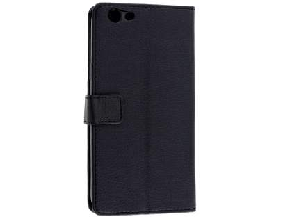 Synthetic Leather Wallet Case with Stand for Oppo F1s - Classic Black Leather Wallet Case