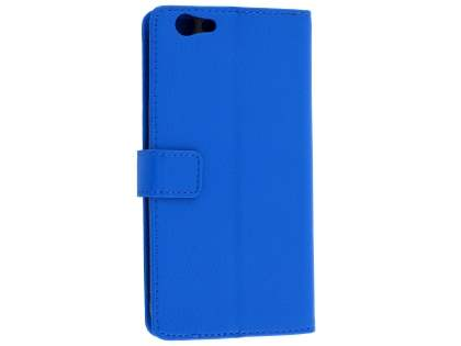 Oppo F1s Synthetic Leather Wallet Case with Stand - Blue Leather Wallet Case