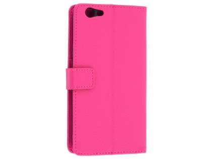 Oppo F1s Synthetic Leather Wallet Case with Stand - Pink Leather Wallet Case