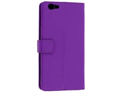 Oppo F1s Synthetic Leather Wallet Case with Stand - Purple Leather Wallet Case
