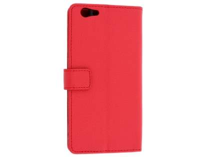 Oppo F1s Synthetic Leather Wallet Case with Stand - Red Leather Wallet Case